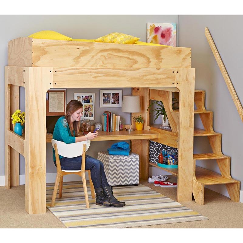 Loft Bed And Desk Woodworking Plan, Loft Bed With Desk Plans