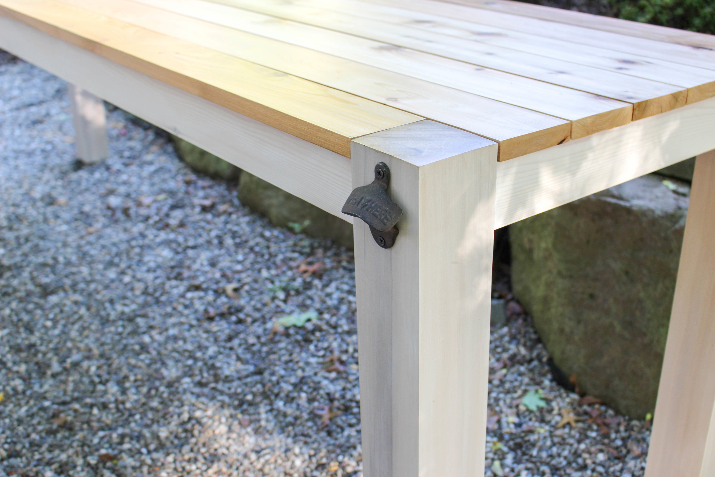 Outdoor Table with Bottle Opener