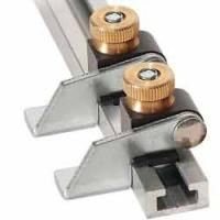 Drill press table fence flip stops