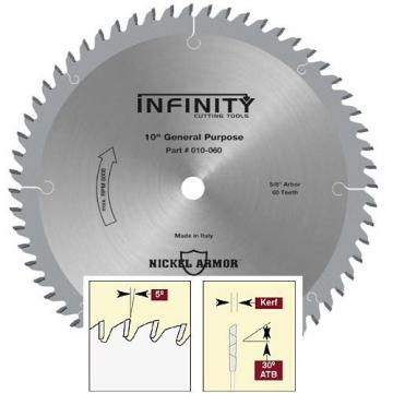 """Infinity 10"""" x 60 Tooth Fine General Purpose Blade"""